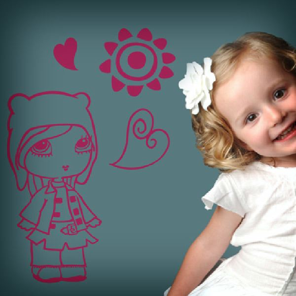 Stickers for Kids: Girl in love