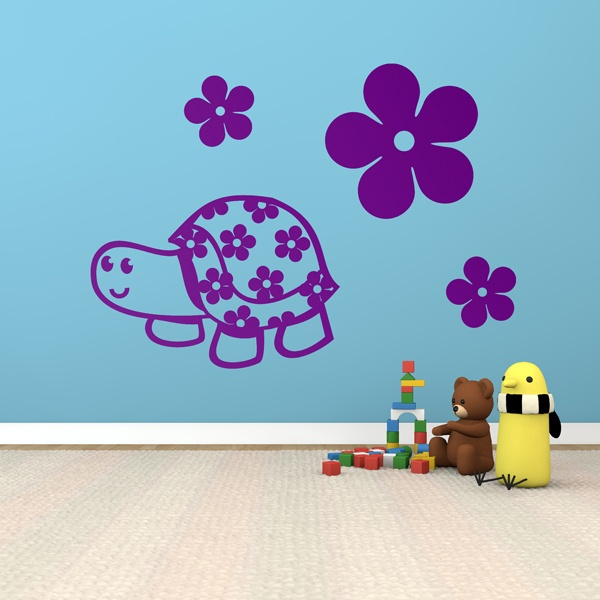 Stickers for Kids: Turtle with flowers