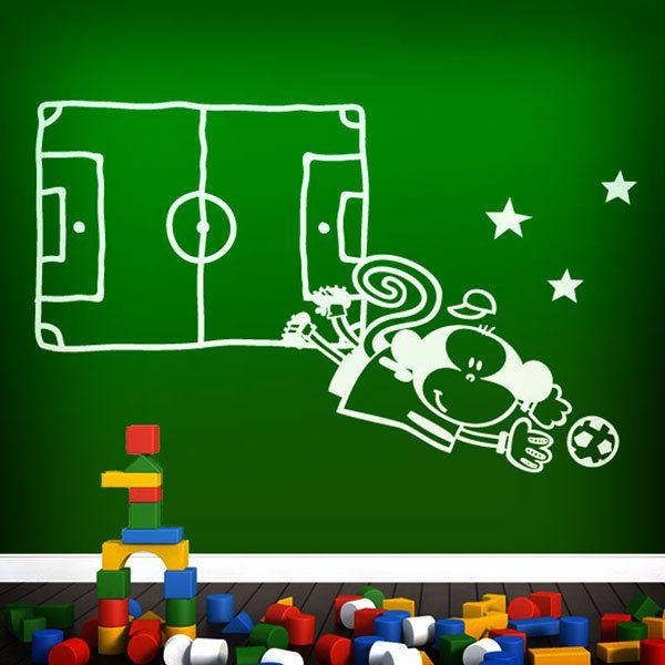 Kids Childrens Football Field 100 X 133cm: Kids Wall Sticker Goalkeeper