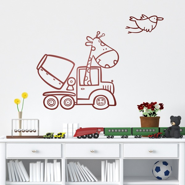 Stickers for Kids: Giraffe in concrete mixer