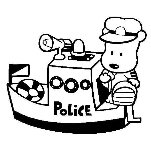 Stickers for Kids: Maritime police bear