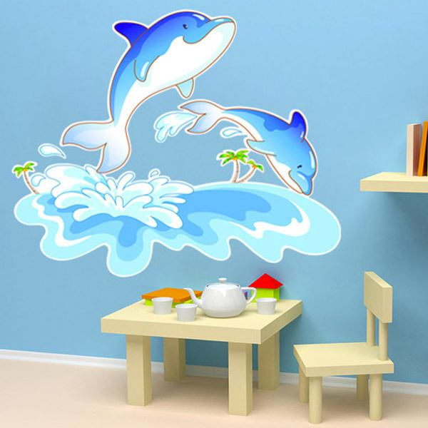 Stickers for Kids: Dolphins and waves
