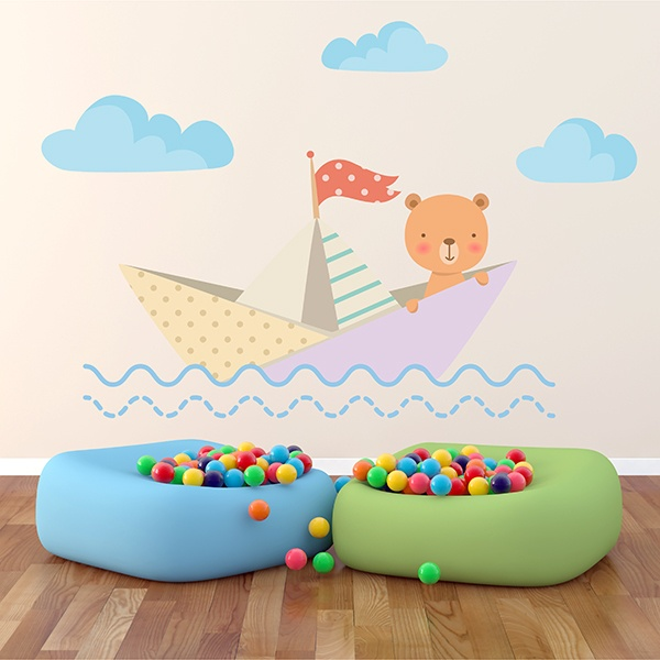 Stickers for Kids: Teddy bear in paper boat 1