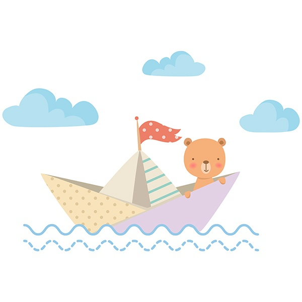 Stickers for Kids: Teddy bear in paper boat