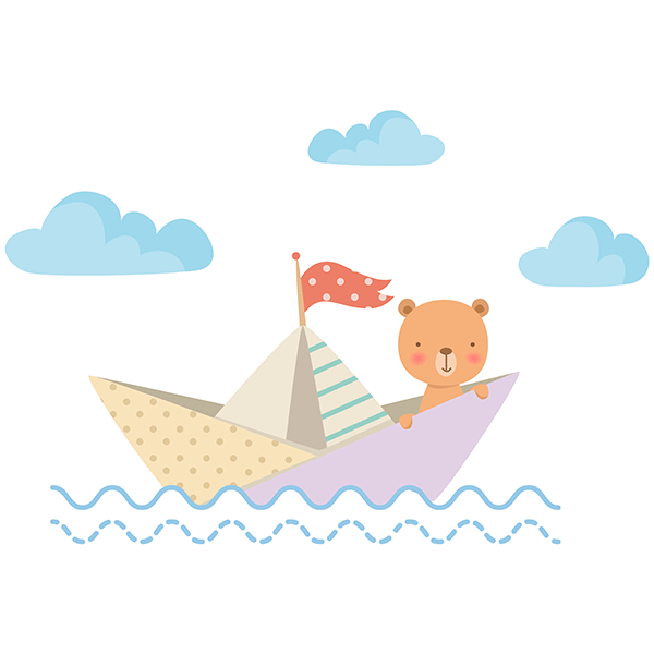 Stickers for Kids: Teddy bear paper boat