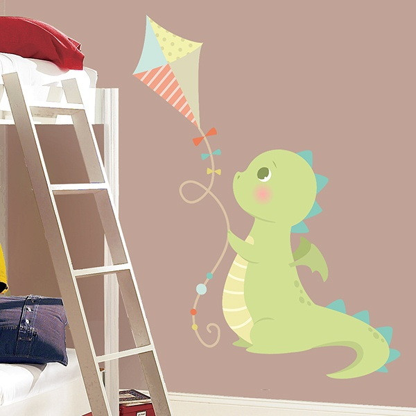 Stickers for Kids: Dragon playing with kite