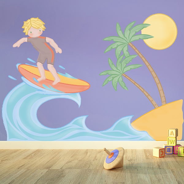 Stickers for Kids: Surfing next to the beach