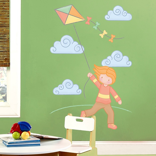 Stickers for Kids: Girl flying the Kite