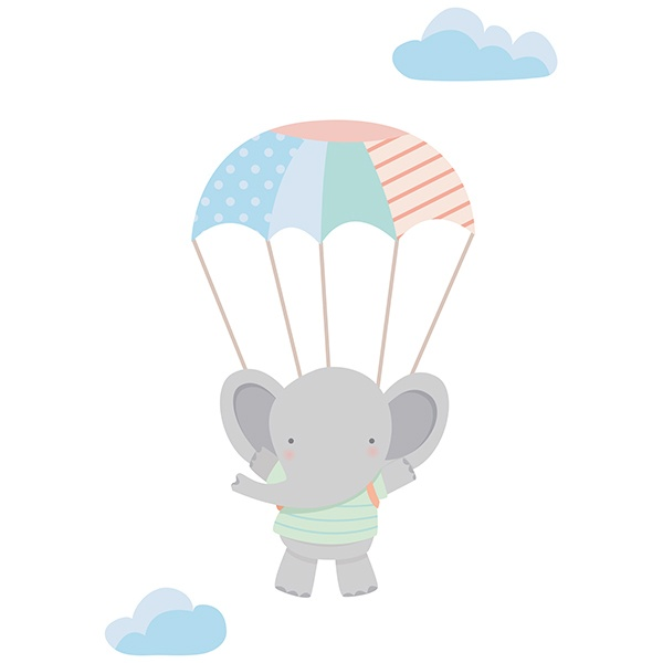 Stickers for Kids: Elephant in parachute