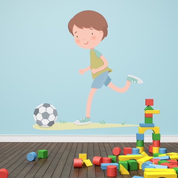 Stickers for Kids: Boy playing soccer