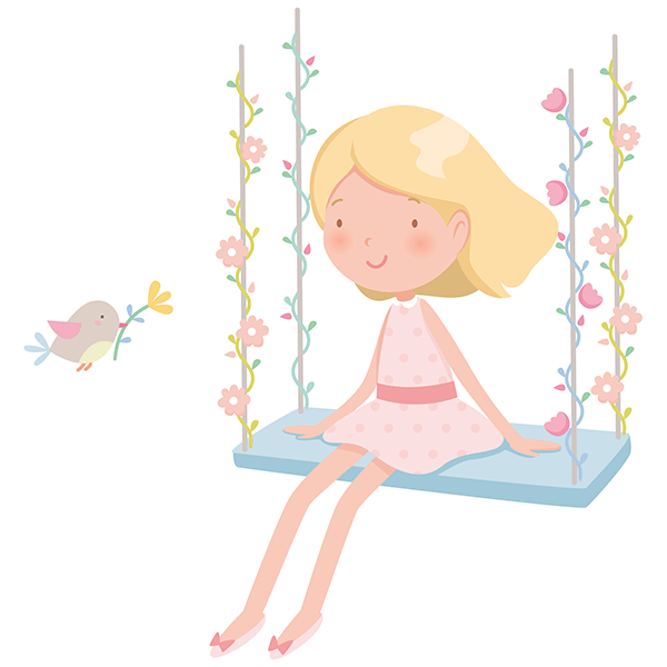 Stickers for Kids: Little girl on the swing