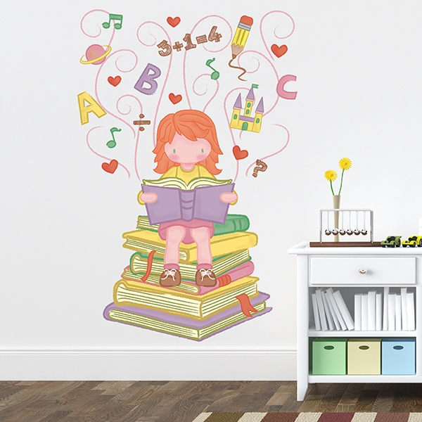 Stickers for Kids: Little girl learning