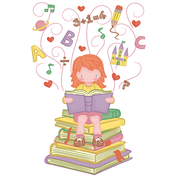 Stickers for Kids: Girl learning