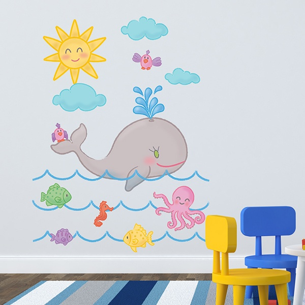 Stickers for Kids: The whale and the ocean 1