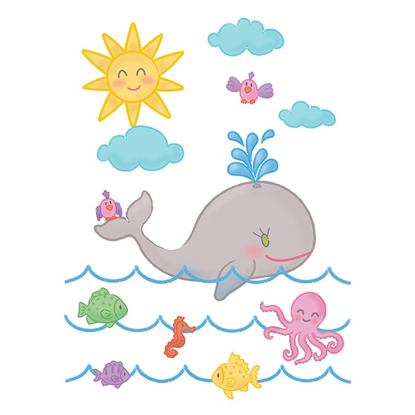 Stickers for Kids: The whale and the ocean