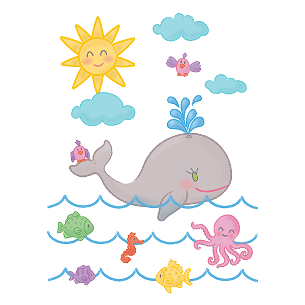 Stickers for Kids: The whale and the ocean 0