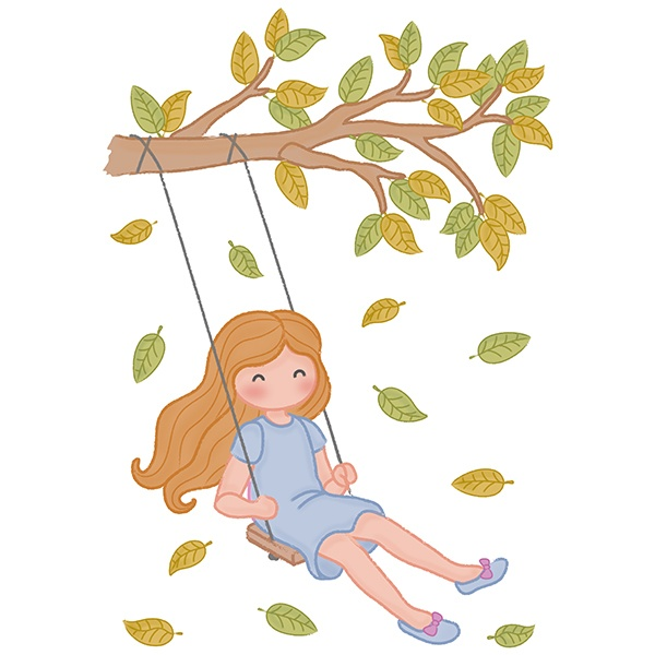 Stickers for Kids: Girl swinging