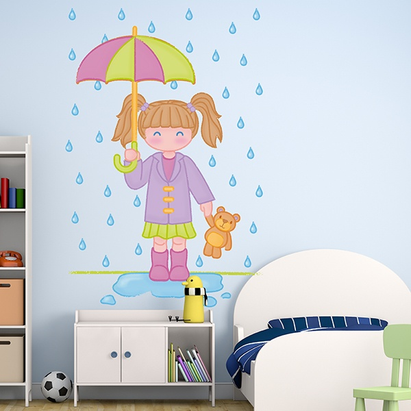 Stickers for Kids: Girl under rain