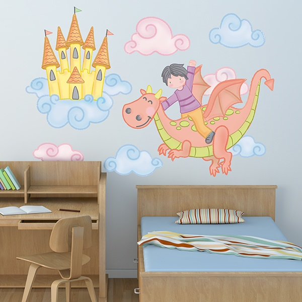 Stickers for Kids: Child flying with a dragon