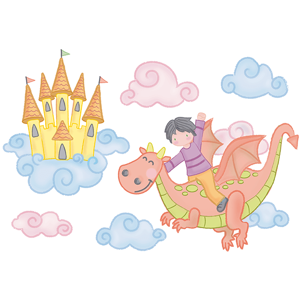 Stickers for Kids: Boy flying with a dragon