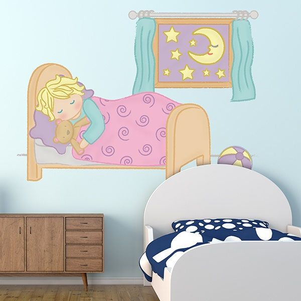 Stickers for Kids: sleeping with her stuffed animal
