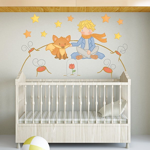 Stickers for Kids: The Little Prince and the fox on the moon