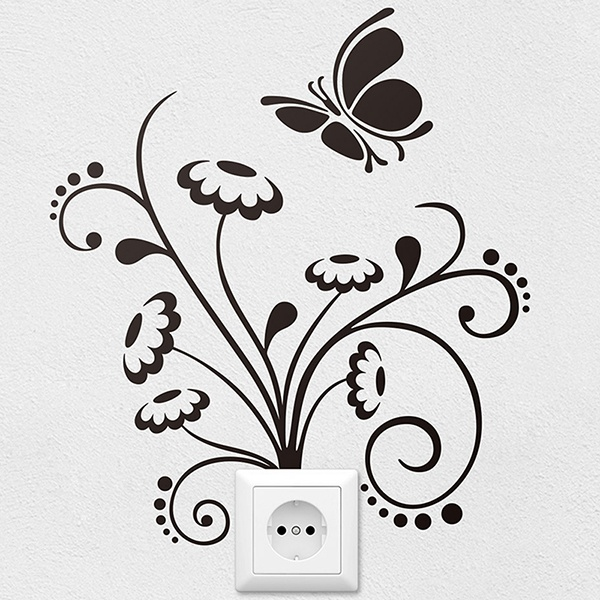 Wall Stickers: Floral ornament and butterfly