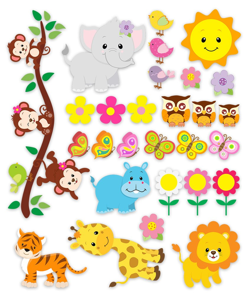 Kit children 39 s wall stickers jungle animals for Stickers infantiles
