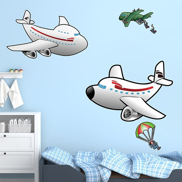 Stickers for Kids: Airplanes and parachutists