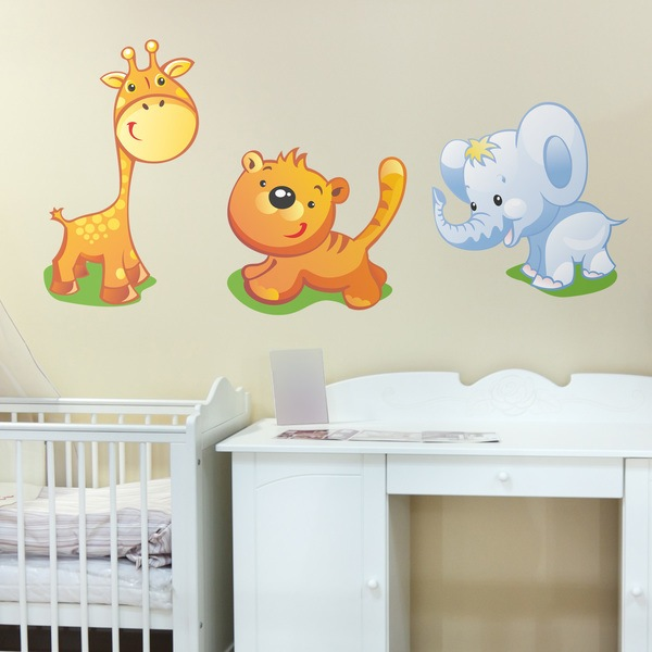 Stickers for Kids: Giraffe, tiger and elephant kit