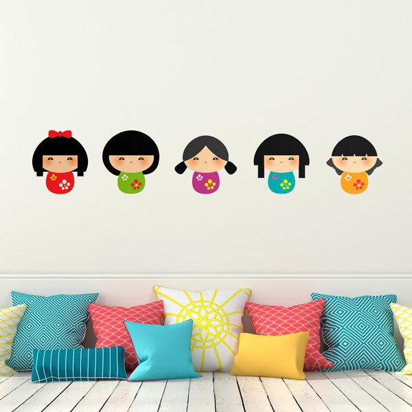 Stickers for Kids: Kit of 5 Kokeshi dolls