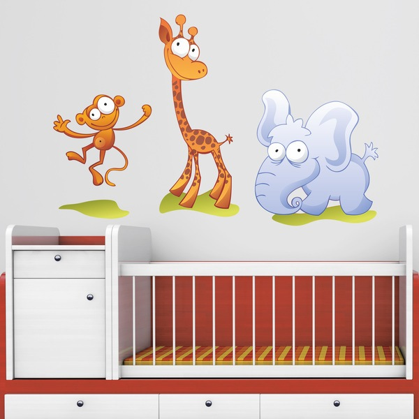 Stickers for Kids: Zoo, a little monkey, a giraffe and an elephant
