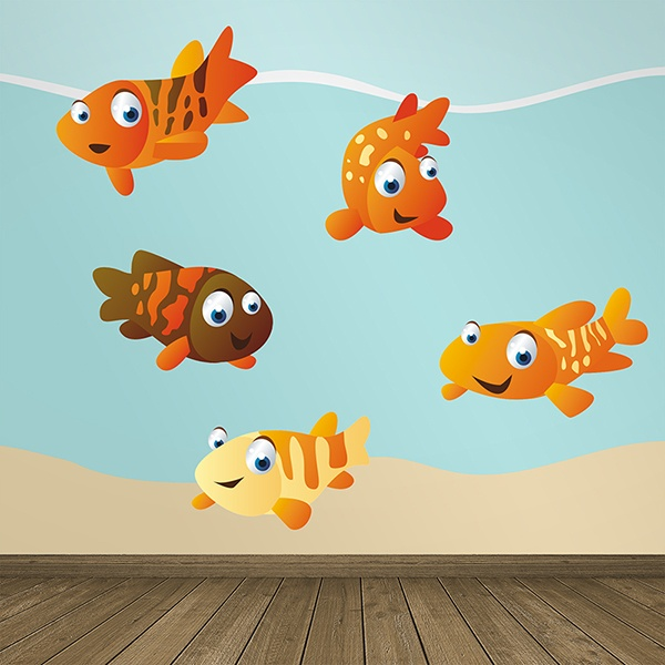 Stickers for Kids: Aquarium kit of orange fish