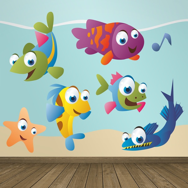 Stickers for Kids: Kit Aquarium colored fish