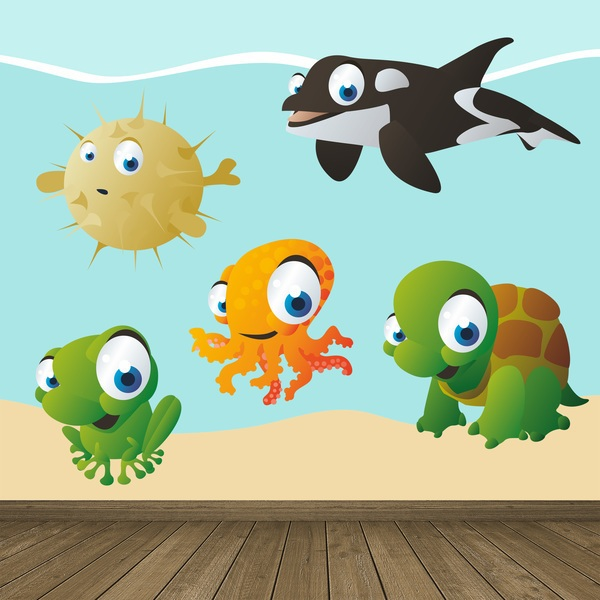 Stickers for Kids: Aquarium Kit of marine beings