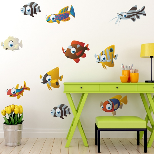 Stickers for Kids: Kit 10 fishes