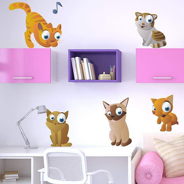 Stickers for Kids: Kit of 5 cats