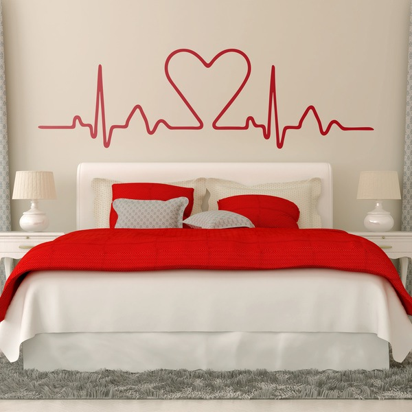 Wall Stickers: Bed Headboard Heart electrocardiogram