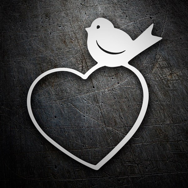 Car & Motorbike Stickers: Bird on heart