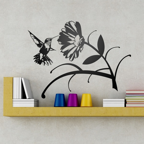 Wall Stickers: Floral Hummingbird