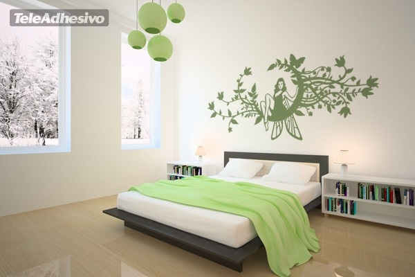 Wall Stickers: Fairy in the moon of flowers