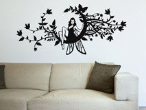 Wall Stickers: Fairy in the moon of flowers 5
