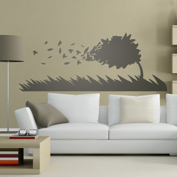 Wall Stickers: Tree bent by the wind
