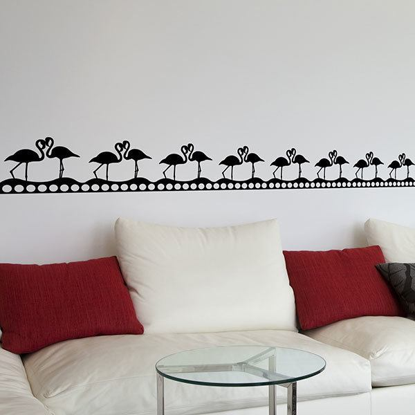 Wall Stickers: Wall Border Flamingos