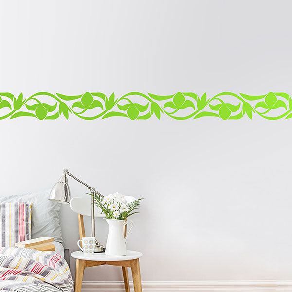 Wall Stickers: Wall Border Flowers opening