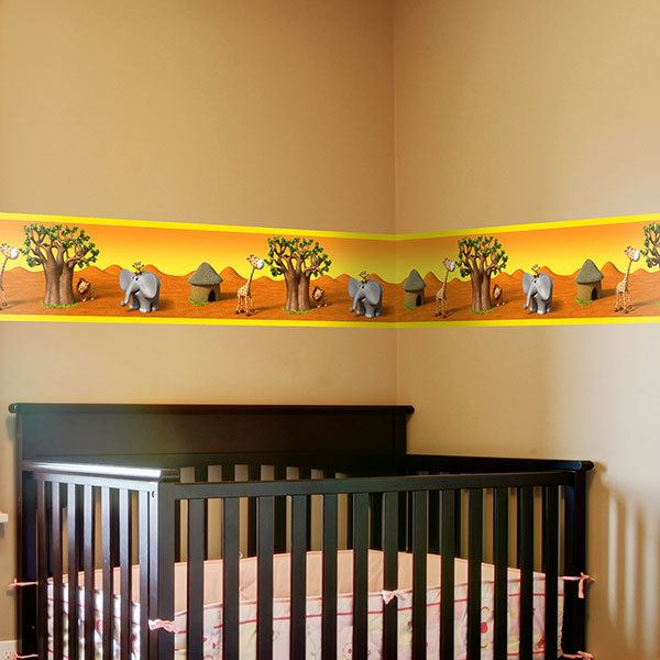 Stickers for Kids: African animals decorative border