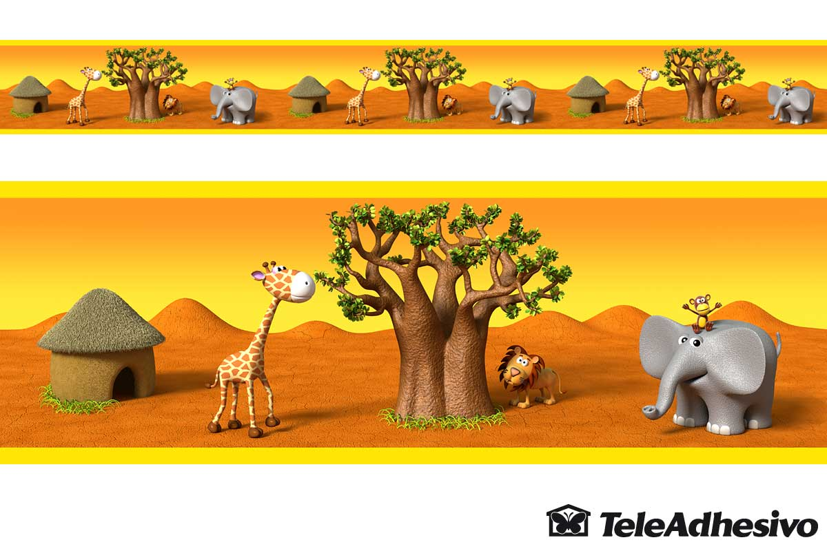 Stickers for Kids: Wall Border African animals