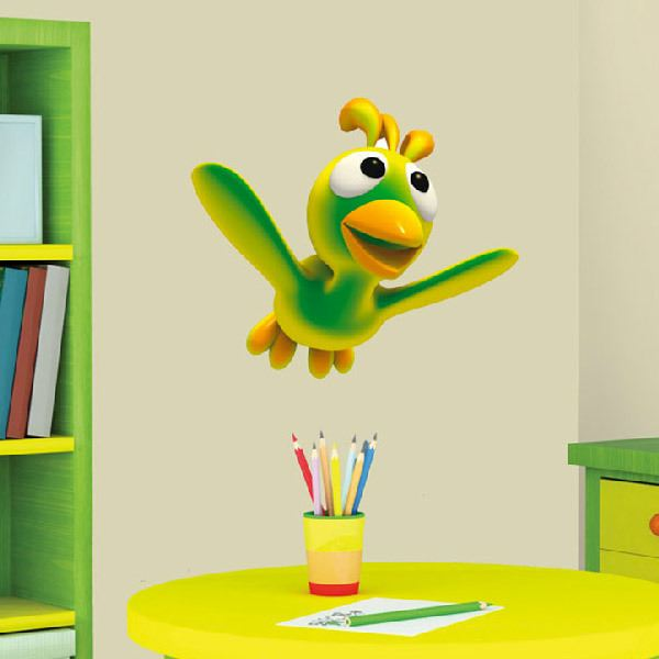 Stickers for Kids: Green bird flying