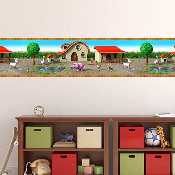 Stickers for Kids: Wall Border Animals in the stable