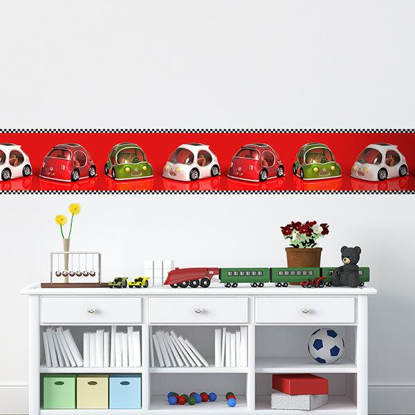 Stickers for Kids: Wall Border Racing Cars
